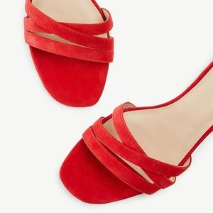NIB Ann Taylor Red Suede Flat Sandals